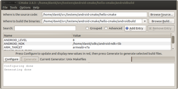 the cmake-gui tool used to build the android-cmake example